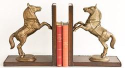 Casa Padrino Luxus Buchstützen Set Pferde Messingfarben / Braun 47,5 x 11 x H. 28 cm - Deko Accessoires