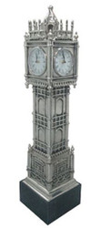 Casa Padrino luxury grandfather clock tower silver / black 20 x 20 x H. 85 cm - Luxury Decoration Accessories