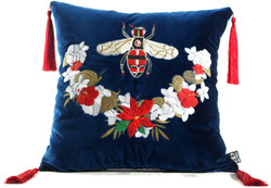 Casa Padrino luxury pillow with tassels bee blue / multicolor 45 x 45 cm - Finest Velvet Fabric - Luxury Decoration Accessories