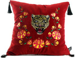 Casa Padrino luxury pillow with tassels tiger red / multicolor 45 x 45 cm - Finest Velvet Fabric - Luxury Quality