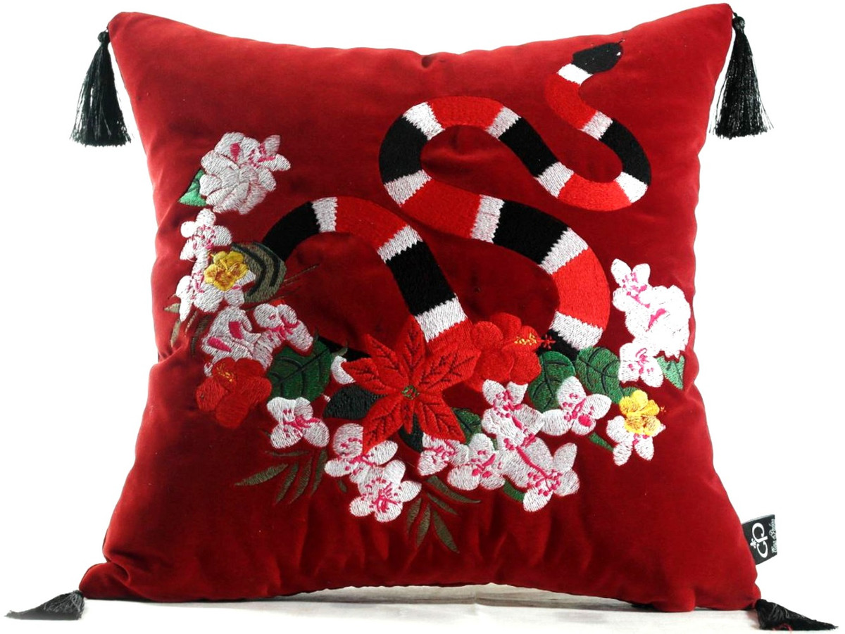 Luxus Cuscini.Casa Padrino Luxury Pillow With Tassels Snake Red Multicolor 45