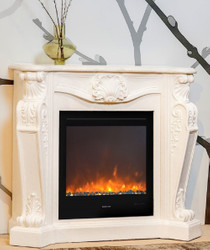 Casa Padrino luxury Art Nouveau fireplace with LED fireplace insert cream white 118 x 43 x H. 111 cm - Luxury Electric Fireplace