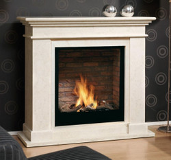 Casa Padrino Luxury Art Nouveau Fireplace with Bio Burner and Glass Screen Cream White 119 x 39 x H. 108 cm - Luxury Ethanol Fireplace