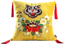 Casa Padrino luxury pillow with tassels cat yellow / multicolor 45 x 45 cm - Finest Velvet Fabric - Living Room Pillow