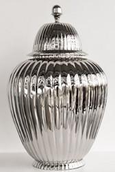 Casa Padrino luxury aluminum vase with lid silver Ø 45 x H. 75 cm - Luxury Decoration