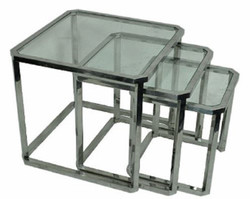 Casa Padrino luxury side table set silver 60 x 60 x H. 55 cm - Steel Side Tables with Glass Top