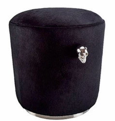 Casa Padrino luxury stool black / silver Ø 48 x H. 45 cm - Luxury Furniture