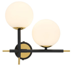 Casa Padrino Luxury Wall Lamp Black / Gold / White 35 x 17 x H. 35 cm - Luxury Collection