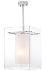 Casa Padrino luxury living room hanging lamp silver / white 36 x 36 x H. 50 cm - Luxury Furniture