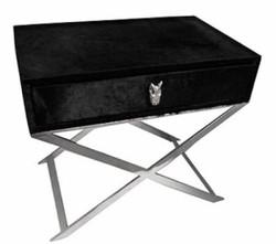 Casa Padrino Luxus Beistelltisch mit Schublade Schwarz / Silber 70 x 46 x H. 61 cm - Wohnzimmermöbel
