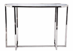 Casa Padrino living room console table silver 100 x 30 x H. 71 cm - Oval Luxury Console