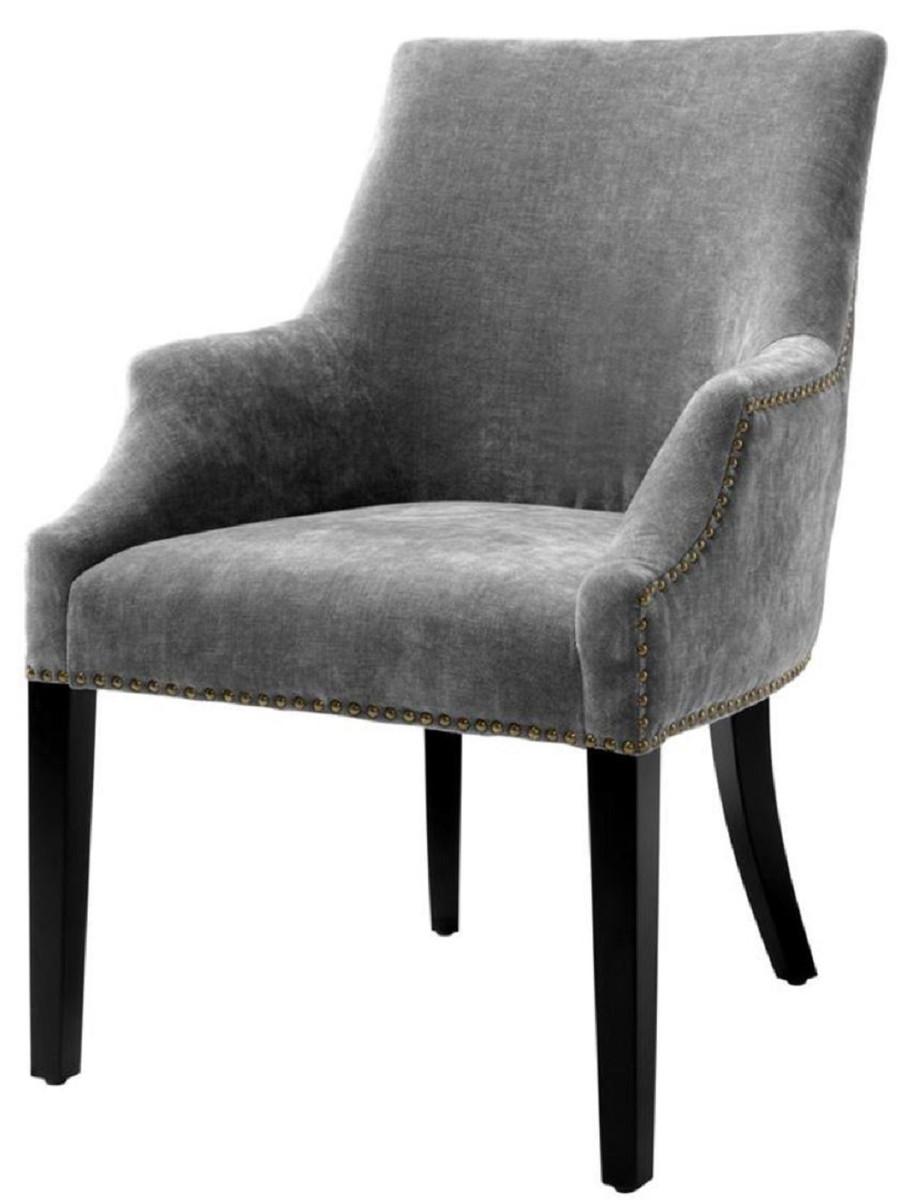 Casa Padrino Luxus Esszimmerstuhl Mit Armlehnen Grau Schwarz Antik Messingfarben 60 X 71 X H 92 Cm Esszimmermöbel
