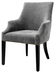 Casa Padrino silla de comedor de lujo con reposabrazos gris / negro / latón  antiguo 60 x 71 x H. 92 cm - Mobiliario de Comedor