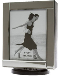 Casa Padrino Luxury Jewelery Cabinet Black / Cream / Silver 20 x 15 x H. 27 cm - Small Jewelry Cabinet with Photo Frame Mirror Door and Swiveling Base
