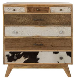 Casa Padrino country style dresser with 7 drawers natural / multicolor 70 x 30 x H. 80 cm - Country Style Furniture