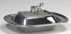 Casa Padrino luxury butter bowl / butter dish with lid and decorative horse handle silver 15 x 10 x H. 5 cm - Kitchen Accessories