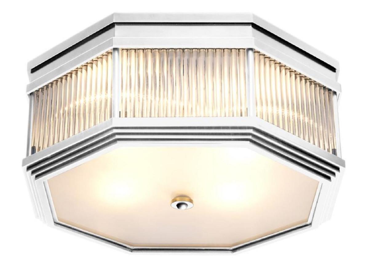 Casa Padrino Luxus Deckenleuchte Silber 405 X 405 X H 18 Cm