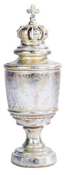 Casa Padrino baroque vase with lid and decorative crown antique silver / antique gold Ø 10 x H. 28 cm - Deco Accessories in Baroque Style