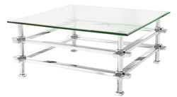Casa Padrino luxury coffee table silver 100 x 100 x H. 45.5 cm - Stainless Steel Coffee Table with Glass Top