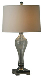 Casa Padrino luxury crystal glass table lamp silver / light brown Ø 38 x H. 71 cm - Luxury Furniture