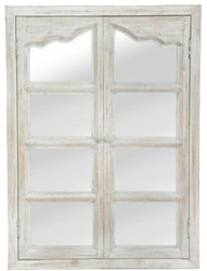 Casa Padrino country style wall mirror with 2 folding doors antique white 63 x 4 x H. 86 cm - Mirror in the Window Look
