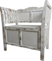 Casa Padrino Country Style Shabby Chic Bench with Storage Space Antique White / Brown 80 x 44 x H. 80 cm - Country Style Furniture