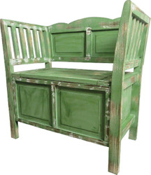 Casa Padrino Country Style Shabby Chic Bench with Storage Space Antique Green / Brown / White 80 x 44 x H. 80 cm - Country Style Furniture