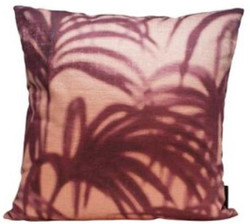 Casa Padrino luxury decorative pillow palm leaves pink / purple 45 x 45 cm - Living Room Decoration Accessories
