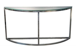 Casa Padrino luxury console table silver 140 x 45 x H. 70 cm - Half Round Stainless Steel Console with Glass Top