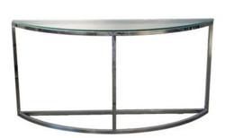 Casa Padrino Luxus Konsolentisch Silber 140 x 45 x H. 70 cm - Halbrunde Edelstahl Konsole mit Glasplatte