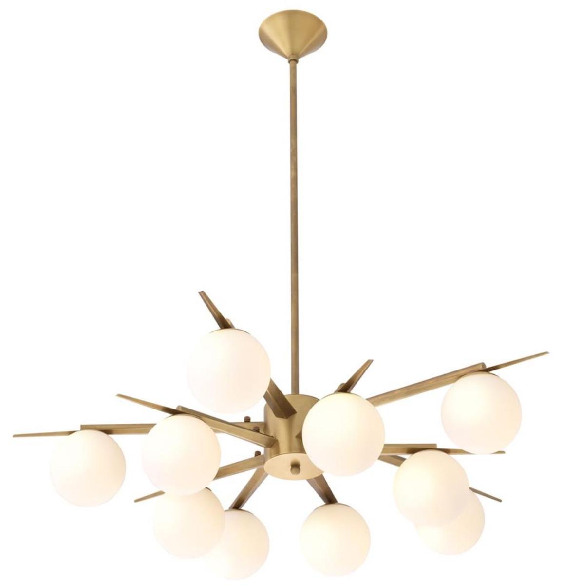 Casa Padrino Luxus Kronleuchter Antik Messingfarben / Weiß Ø 90 x H. 20 cm - Luxus Möbel 1