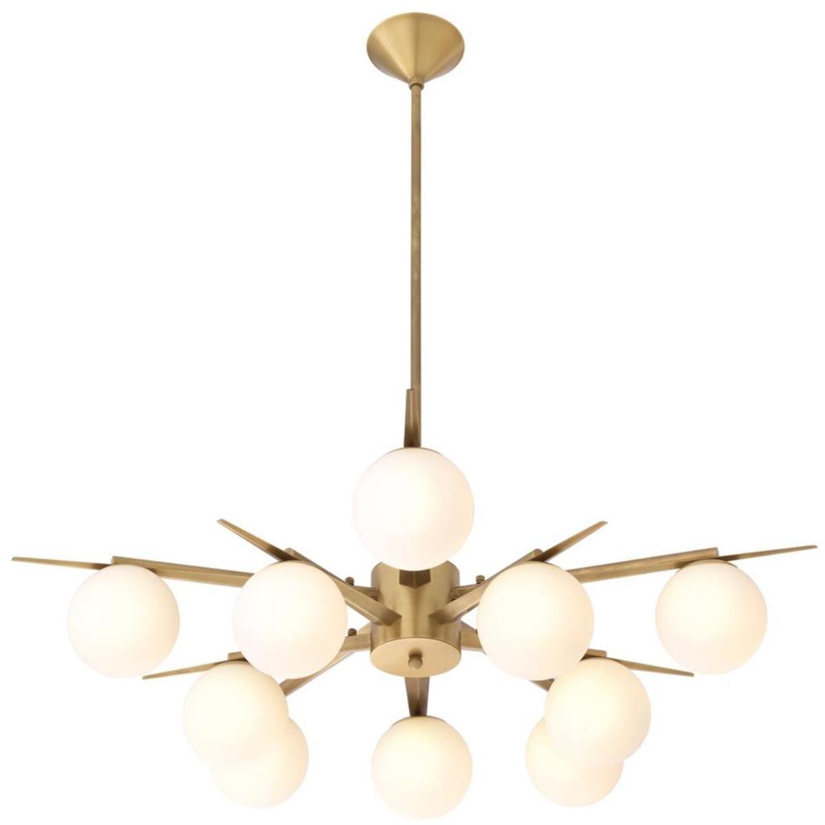 Casa Padrino Luxus Kronleuchter Antik Messingfarben / Weiß Ø 90 x H. 20 cm - Luxus Möbel 3