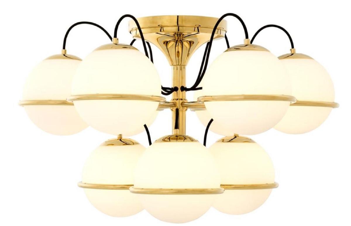 Casa Padrino Luxus Deckenleuchte Gold / Weiß Ø 80 x H. 48 cm - Hotel Möbel 2