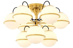 Casa Padrino luxury ceiling lamp gold / white Ø 80 x H. 48 cm - Hotel Furniture