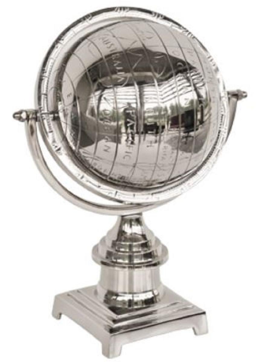 Casa Padrino Luxus Aluminium Globus Silber 25 x 18 x H. 34 cm - Schreibtisch Deko 1