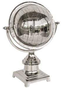 Casa Padrino Luxus Aluminium Globus Silber 25 x 18 x H. 34 cm - Schreibtisch Deko