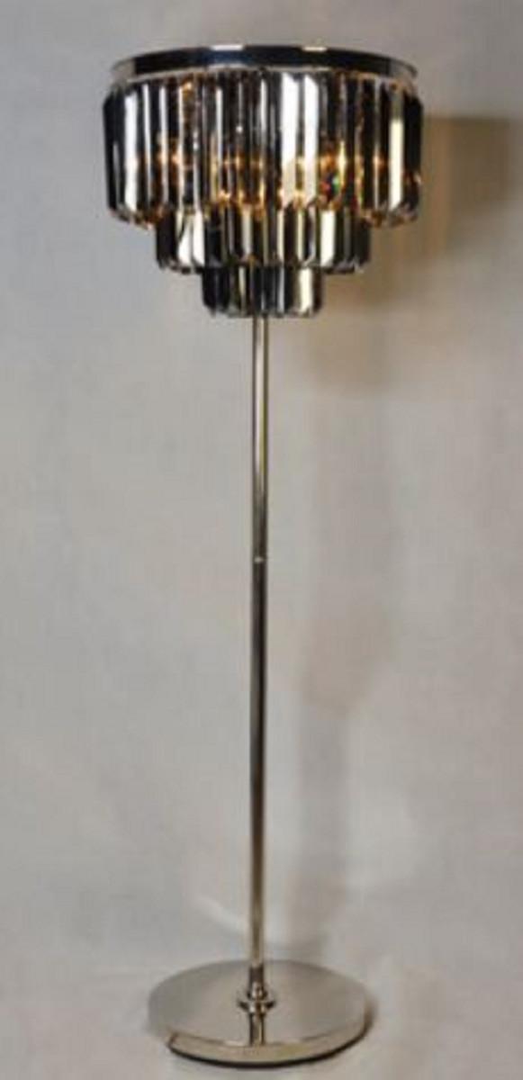 Casa Padrino Luxus Stehleuchte Silber / Schwarz Ø 54 x H. 161 cm - Runde Stehlampe mit Kristallglas 1