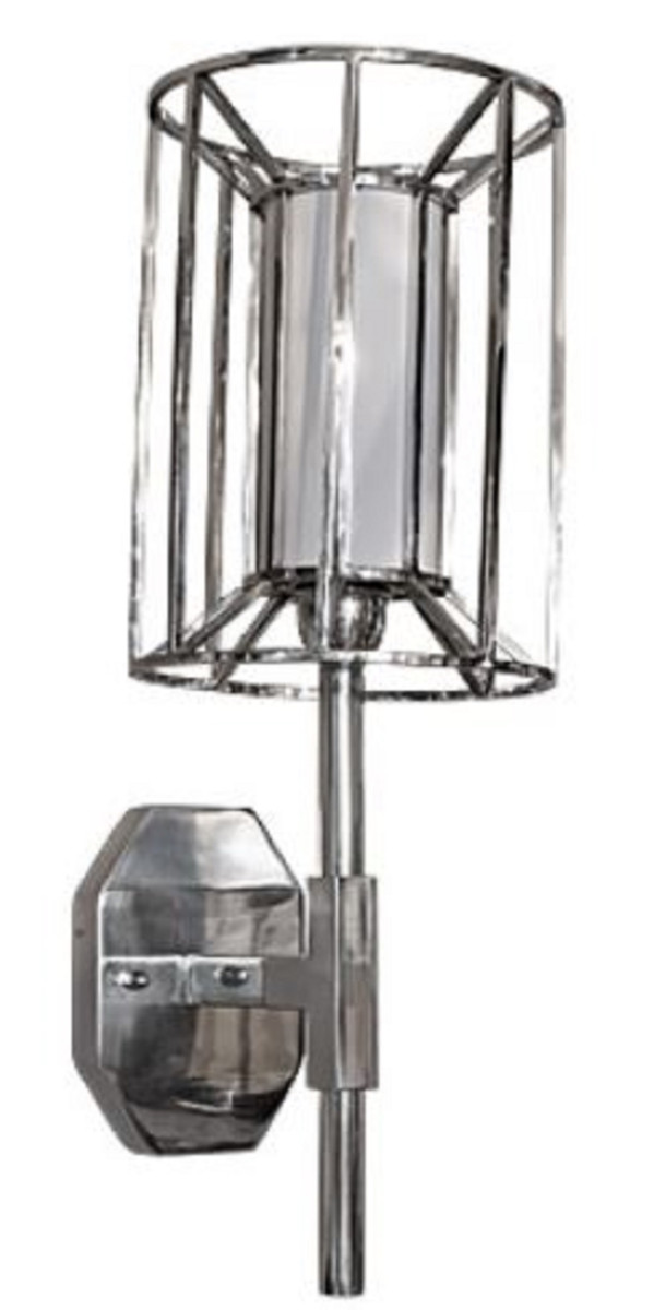 Casa Padrino Luxus Wandleuchte Silber / Weiß 24 x 24 x H. 52 cm - Hotel & Restaurant Wandlampe  1