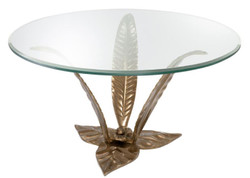Casa Padrino luxury coffee table vintage brass Ø 85 x H. 45 cm - Designer Coffee Table with Glass Top