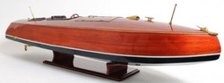 Casa Padrino Luxury Wooden Speedboat Hydroplane Brown / Multicolor 99.1 x 25.4 x H. 25.4 cm - Handmade Deco Model Boat
