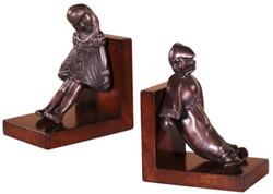 Casa Padrino Luxus Buchstützen Set Mädchen & Clown Bronze / Braun 14 x 10 x H. 17 cm - Deko Bronzefiguren mit Holzsockel