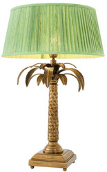 Casa Padrino luxury table lamp vintage brass / green Ø 50 x H. 77 cm - Designer Table Light in the Palm Design
