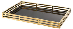 Casa Padrino Luxury Serving Tray Gold / Black 56 x 36 x H. 5 cm - Stainless Steel Tray with Black Mirror Glass