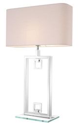 Casa Padrino Table Lamp Silver / White 55 x 25 x H. 88 cm - Luxury Table Light with Lampshade