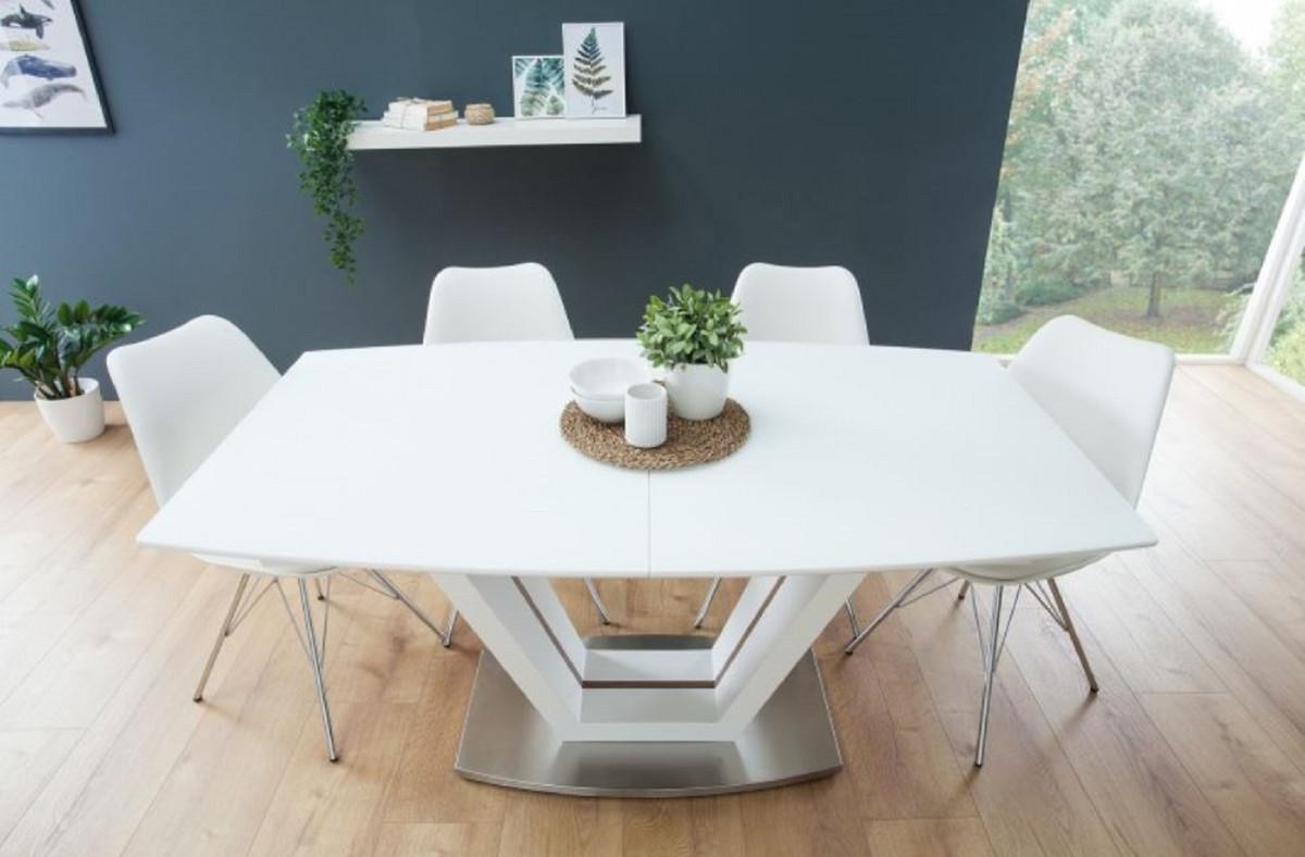 Casa Padrino Mesa de Comedor de Lujo Blanco / Marrón / Plata 160-220 x 90 x  H. 76 cm - Mesa de Cocina Moderna y Extensible