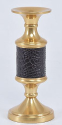 Casa Padrino luxury candle holder brass gold / black Ø 10 x H. 23 cm - Hotel & Restaurant Accessories