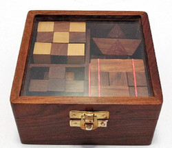 Casa Padrino wood puzzle game brown 6 x 6 x H. 7.5 cm - Puzzle - Skill Game in Wooden Box