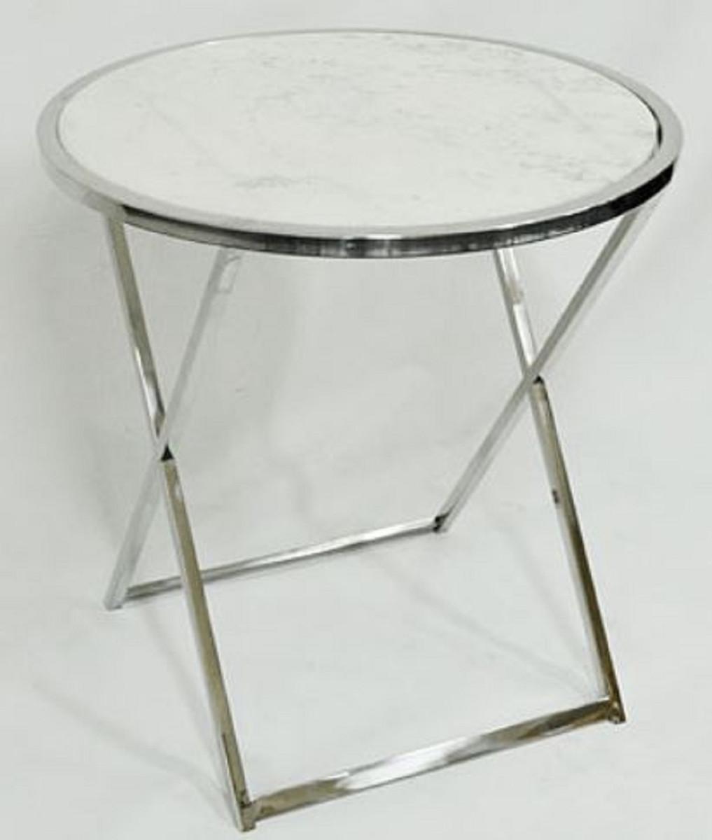 Casa padrino luxus beistelltisch silber wei 75 x h for Runder tisch mit marmorplatte