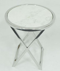 Casa Padrino luxury side table silver / white Ø 46 x H. 54 cm - Round Stainless Steel Table with Marble Top
