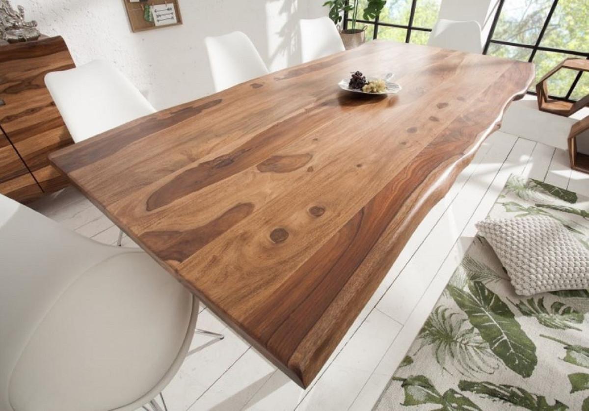 Casa Padrino Table à Manger Design Marron Argent 180 X 88 X H 75 Cm Table De Cuisine De Luxe Avec Plateau En Bois De Sheesham Massif Et Pieds En